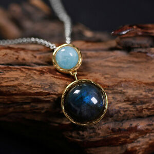 Solid 925 Silver 18k Gold Round Natural Gemstone Pendant for Women Fine Jewelry