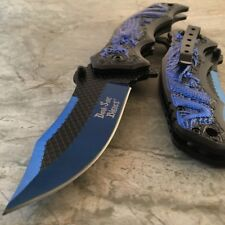"8"" BLUE DRAGON Spring Assisted Open Blade FOLDING POCKET KNIFE Fade Switch"