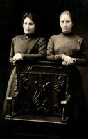 Vintage 1910's RPPC Postcard - Studio Portrait Two Cute Girls Nice Chair