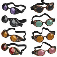 Victorian Vintage Steampunk Goggles Glasses Welding Cyber Punk Gothic Cosplay US