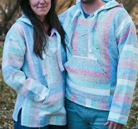 Baja Surf Hoodie Mexican Poncho Sweatshirt Drug Rug Pastel Color LARGE Unisex