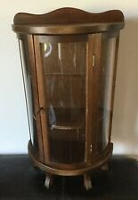 """Wood Curio Cabinet Table Wall Shelf Display Case Curved Glass Vintage 22"""" Tall"""