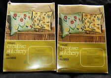 "2 NOS Vtg CREATIVE STITCHERY Crewel Embroidery Pillow Kit 13""x13"" Butterfly BEE"