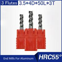 HRC55 3 Flutes 3.5MM Solid Carbide End Mills For Aluminum L 50MM
