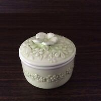 Vintage Norcrest Trinket Box Ceramic Floral Green Embossed Flowers 3""
