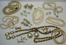 GROUP OF VINTAGE PEARL JEWELRY NECKLACES & EARRINGS