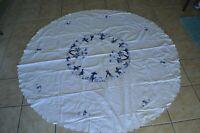 Vintage Tablecloth Island Motif Cultural Palms Fishing Village Blue White Round