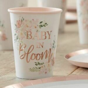 Floral Baby Shower Paper Cups | Baby In Bloom Rose Gold Party x8