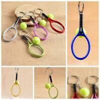 Sport Alloy Baseball Keyring Tennis Keychain Bag Pendant Mini Racket Ball