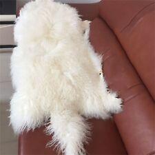 White Mongolian Tibetan Lambs Rug Sheepskin Throw RUG Hide Pelt Curl Hair Carpet