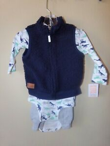 Just One You by Carters Baby Boy 3 Pc Bodysuit Set-12M-Dinosaurs-Long Pants-Vest