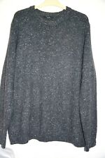 Men's Grey Speckled Acrylic Knitted Jumper Size XL Crew Neck Long Sleeve Sweater