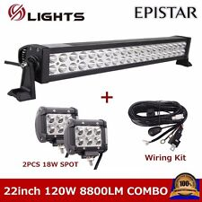 22Inch 120W Led Light Bar Combo JEEP ATV SUV 4X4 With 18W Spot Lamp + Wiring Kit