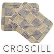 Two (2) Croscill Large Padded Standard Pillow Shams Patchwork Pattern Gray Tan