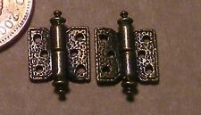 1:12 Scale 2 Dolls House Ornate Antique Brass Square Hinges & Pins 1cm x 1cm 723