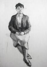 Vintage charcoal drawing female portrait