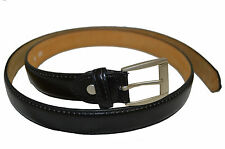 "MENS LEATHER DRESS BELT BLACK NEW SIZE LARGE 38""-40"" CASUAL STYLISH METAL BUCKLE"