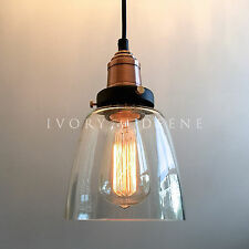 LUCY Glass Pendant Industrial Filament Light Copper Fittings Hanging Canopy NEW