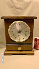 """1509M Vtg Qtz. Mantle Clock Walnut? w/Drawer Germany w/Tochigi Mvmt 13"""" Tall"""