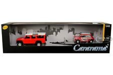 LAND ROVER DEFENDER 110 W/TRAILER & MINI COOPER #113 1/43 CARS CARARAMA 48131 M