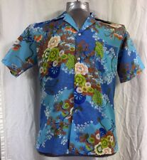 Vintage JC Penneys Hawaiian Aloha Shirt GVH Hawaiiprint Floral Size Medium? Blue
