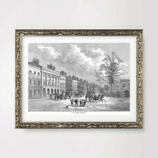 GROSVENOR SQUARE MAYFAIR LONDON ART PRINT Poster Vintage Antique Wall Picture