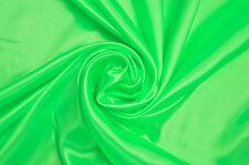 FLUORESCENT NEON GREEN SILKY SATIN DANCE DRESS CRAFT FABRIC MATERIAL 150CM WIDE