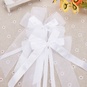 10 white Pew Ends Chairbacks with Organza Stain  Bows for Weddings