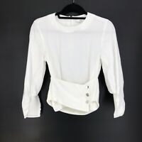 Tibi Womens Size 2 Cropped Belted White Blouse Button Detail Elastic Panels