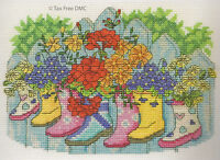 VAT Free DMC Counted Cross Stitch Kit Blossoming Wellies Wellington Boots BK1546