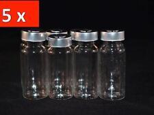 5Pcs 10ml Empty Sample Vials Clear Glass Bottles Medical Rubber Aluminum Seal