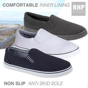 Mens Slip On Canvas Espadrilles Deck Plimsolls Trainers Pumps Casual Shoes Size