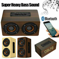 Wooden Stereo Bluetooth Dual Speaker Subwoofer FM Radio HiFi Music Clock Alarm