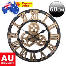 60cm Large Handmade Clock Gear Wall Clock Vintage Rustic luxury Art Home Decor