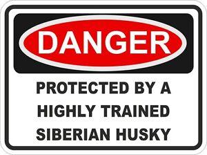 Dog Breed SIBERIAN HUSKY Danger Sticker Pet for Bumper Locker Car Door