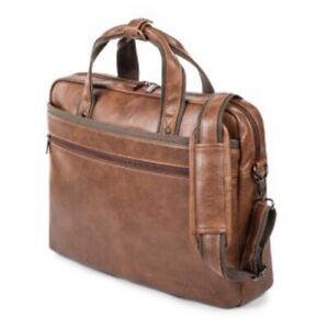 Bugatti Valentino Vegan Leather Briefcase Cognac-Rich Brown Leather Shoulder Str