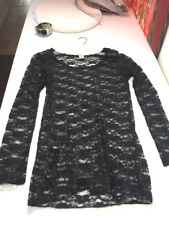 Wet Seal Sheer Lace Blouse Longsleeve Black Floral Sz Small Jj11
