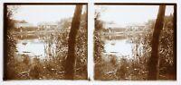 Lac Paesaggio Foto Stereo Francia PL58L14n12 Placca Da Lente c1950
