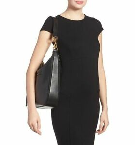 MARC JACOBS Black Leather Zip Hobo Tote Bag Purse Handbag recruit Shoulder L New