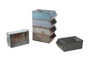 Old Storage Size L Metal Industrial Design Metal Box Stacking