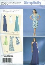 Women's Long & Short Draped Evening Gown & Day Dress Sewing Pattern UNCUT