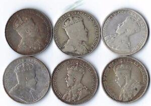 6 pc Lot Canada 50 cent coins 1902,  1907, 1910, 1916, 1918, 1919 **NR**
