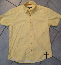 LAMBRETTA SHORT SLEEVE RUFFLED SHIRT YELLOW SCOOTER MOD