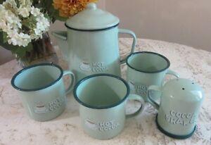 Hot Cocoa graniteware, enamel cups, pot, shaker set