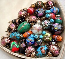 Antique Venetian Glass Wedding Cake Foil Beads, Jewelry 28pc, 5 Sets, Estate Lot