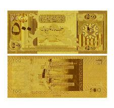 QATAR & DUBAI 500 RIYALS P-7 BANKNOTE GOLD 24K