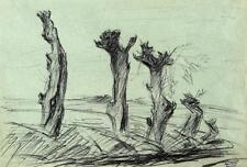 Rolf Diener 1906-1988 Hamburg / Zeichnung / kahle Weidenbäume / Nachlassstempel