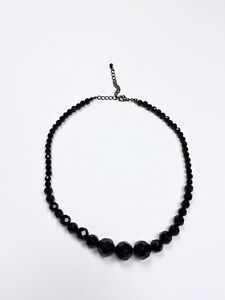 Vintage 60s Black Faceted Graduated Beaded Glass Crystal Cocktail Necklace