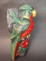 Vintage Colorful Ceramic Parrot Wall Pocket Made in Japan