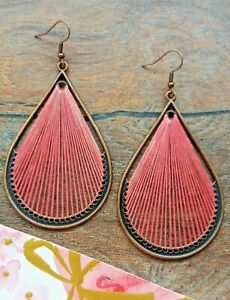 NEW copper bronze pink woven thread string large oval drop dangle boho earrings